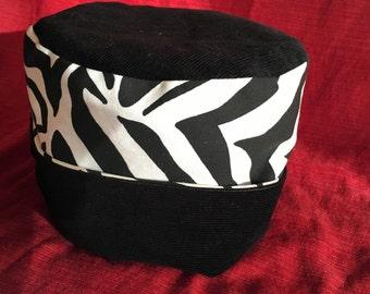 Zebra pillbox hat