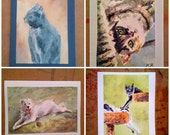 4x6 or 5x7 Custom Original Animal Water Color Painting (Greeting Cards of Cats, dogs and other pets)