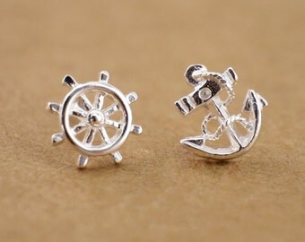 925 Sterling Silver Earrings - Nautical Anchor & Wheel / Bali Huggie