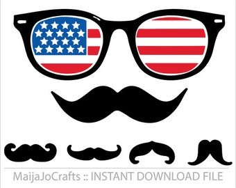 Hipster Mustaches SVG America svg digital download, cricut files DXF Clip art PNG instant download silhouette cameo cutting file printable
