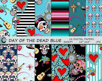 Day Of The Dead Aqua - Digital Paper Collection 12x12