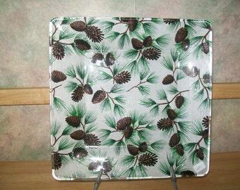Sparkle Pine Cone Decoupage Plate