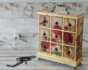 Large Jewellery Box - Mini Chest of Drawers -  Jewelry Cabinet  - Shabby Chic Vintage Style - Mother's Day - Anniversary - Birthday Gift