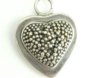 Vintage Sterling Silver Textured Bead Heart Pendant