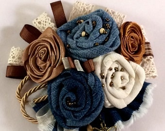 Textile Flower  Brooch  Denim