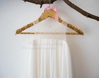 Boho Beach Pearl Tulle Chiffon Flower Girl Dress Wedding Junior Bridesmaid Dress M0037