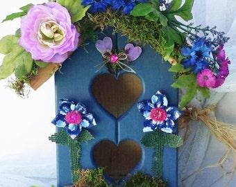 Blue Decorative Birdhouse ~ Redwood ~ Floral Porch Art ~ Unique Home Decor  ~ Bird House