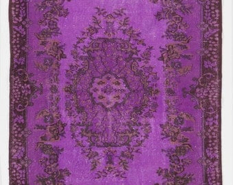 4.3x6.6 Ft Purple color OverDyed Vintage Turkish Rug. Ideal for both residential and commercial interiors. Wool & Cotton blend.  Y473
