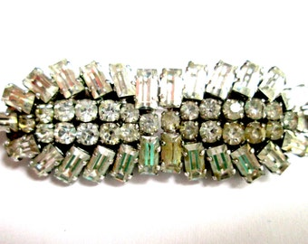 1 MISSING STONE Stunning Vintage Duette Pair Of Art Deco Baguette Clear Rhinestone Two Dress Clips Brooch Pin Silver Tone Rhodium Plated