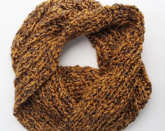 Handknit Chunky Cowl in Gold