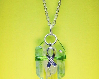 Item #105, Wire Wrapped Quartz, Necklace, Lime Green, Wire Wrapped, Quartz, Crystal, Metaphysical, Lyme Disease, Lyme Awareness Jewelry