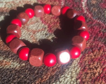 Red and Brown block bracelet