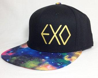 EXO GALAXY Bill Black Baseball Cap, Metallic Gold EXO Logo, Wolf 88 and exo fan gear, K-Pop boy band fan wear, exo fan gear gift, galaxy hat