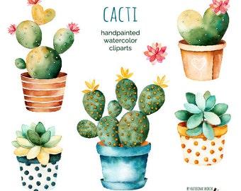 Cacti. Handpainted watercolor cliparts