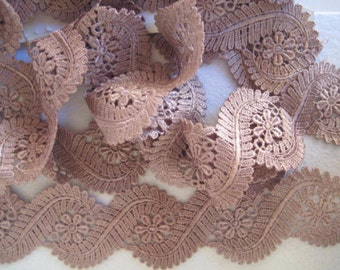 Venise Lace edging hand dyed 1 yard in chocolate for earings,  handbag trim, card making jewellry