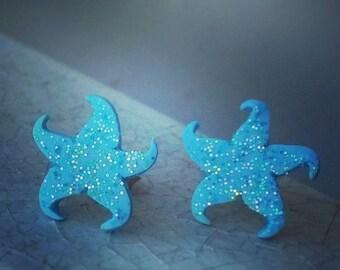 Sea Star Earrings - Sea Star Clay - Sea Star Jewelry - Marine Jewelry - Sea Jewelry - Ocean Blue Sea Star - Blue Jewelry - Earrings