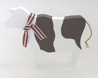 Brown and White Wooden Cow Ornament, Cow Silhouette, Wooden Cow, Cow Lovers Gift, Farmers Gift