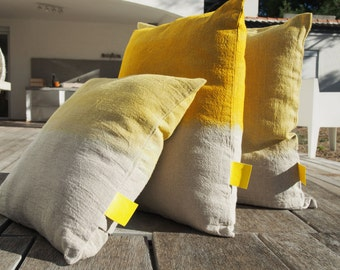 "Cushion natural linen ""Tie & Dye Yellow lemon"", Collection ""Six Horses Charlotte"", 100% handmade"