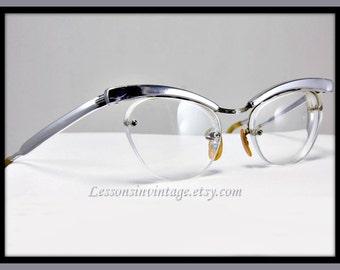 Vintage Eyeglasses, Vintage Horn-Rimmed Eyeglasses, Vintage Horn-Rimmed Glasses, Vintage Aluminum Eyeglasses, Retro Horn-Rimmed Glasses