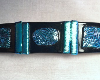 fused glass barrette turquoise B4