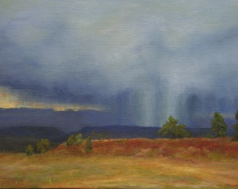 Original Oil 9x12 Landscape Painting of a Summer Storm in Colorado