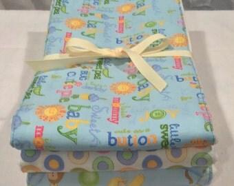 Baby Burp Cloths  - Set of 3 Moda Sleepytime 100% Cotton