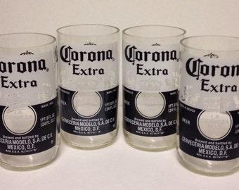 4 Large Corona bottle glasses Made from bottles