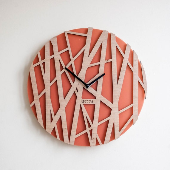 Bamboo Wood Wall Decor : Wood wall clock bamboo modern large by