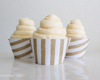 NEW! Gold Glitter Stripe Cupcake Wrappers, Gold Cupcake Wrappers, Stripped Cupcake Wrappers, Cupcake Wrappers, Cupcakes-Set Of 6, 12,18,24+