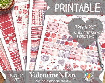 Valentines Printable Planner Stickers, Erin Condren Planner Stickers, Monthly Planner Stickers, Valentines EC Stickers, SILHOUETTE / CRICUT