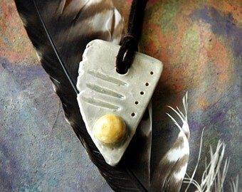 Grey and yellow abstract ceramic pendant