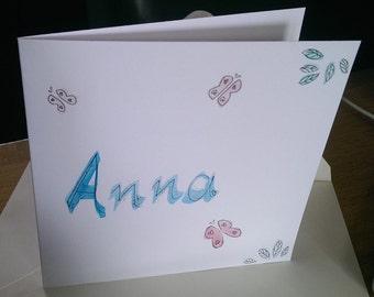 Anna hand-painted name card new baby