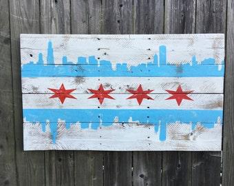 City of Chicago Flag Skyline Pallet Sign 36x20