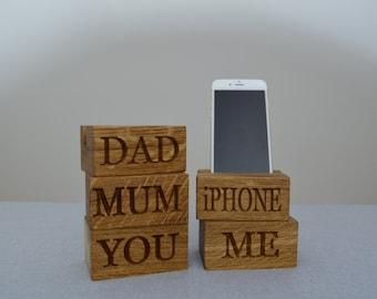 Single Phone Oak Charging Block