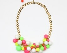 Candy Colorful Plastic Beaded Necklace/ Neon chunky bead necklace/ Summer necklace/ Neon necklace/ Plastic beads/ Colorful necklace
