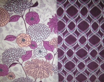 Fleece Tie Blanket-Pretty Flowers Light and Maroonish Purple Pattern, large