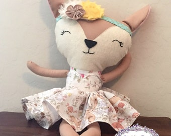Deer-Stuffed Deer-Doe-Woodland Animal-Nursery Decor-Rag Doll-Deer Plush-