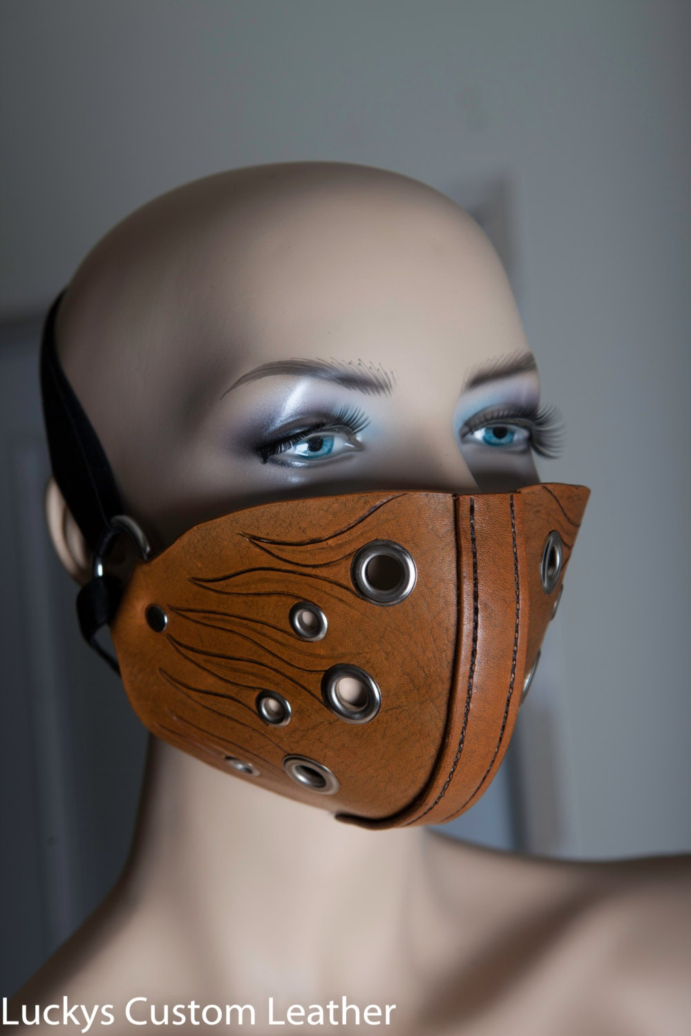 Motorcycle face mask Carved leather mask Custom design