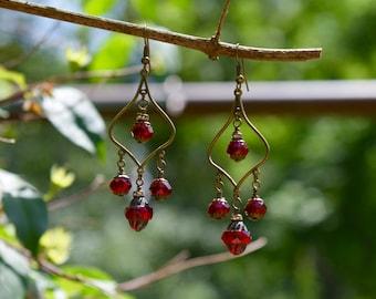 Ruby Romance...Gypsy, Bohemian, Ruby, Red, Czech Glass Beads, Chandelier Earrings