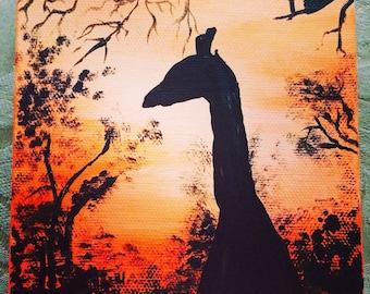 "Sunset and Giraffe Silhouette - Acrylic Painting 5""x5"""