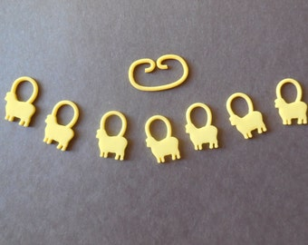 Baa-a-a Sheep -- Yellow 3D Printed Stitch Markers -- In Stock