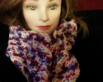Handmade crochet wool infinity scarf