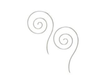 Sterling Silver Swirl Thread-Thru Drop Earrings
