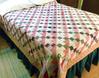 Hourglass Antique Quilt with Multicolor Blocks and Print Back