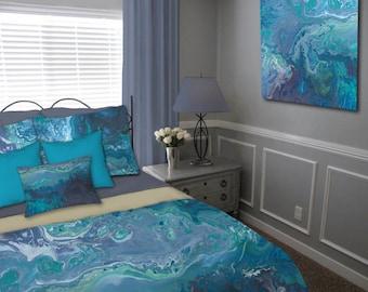 Contemporary DUVET COVER abstract art, Grey teal aqua turquoise blue, Master bedroom decor, King Queen Twin bedding set, Designer Home decor