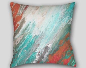 Throw pillow, Teal aqua gray coral, Abstract art, Designer Home decor, Decorative Accent Pillow finished, Cover Case Sofa cushion, Couch