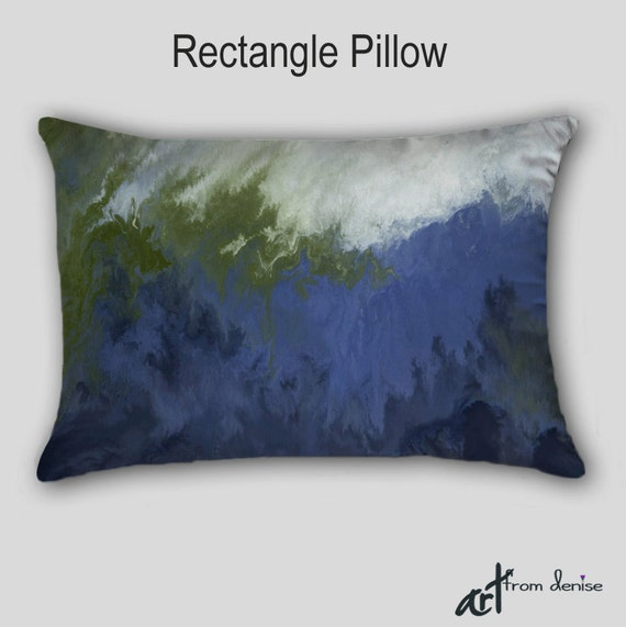 Olive Green And Blue Throw Pillows : Throw pillow Navy blue olive green sage Abstract art