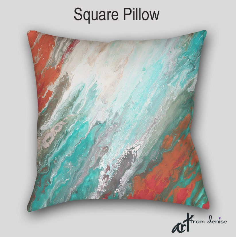 Throw Pillow Teal Aqua Gray Coral Abstract Art Designer