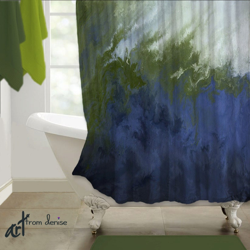 shower curtain navy blue white olive green sage abstract