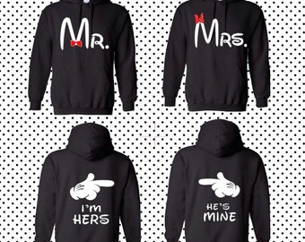 Mr MRS front I'm her's he's mine back couple hoodies matching clothing